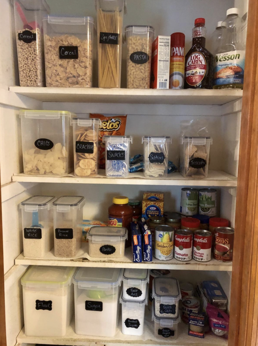 A reviewer's pantry with the containers