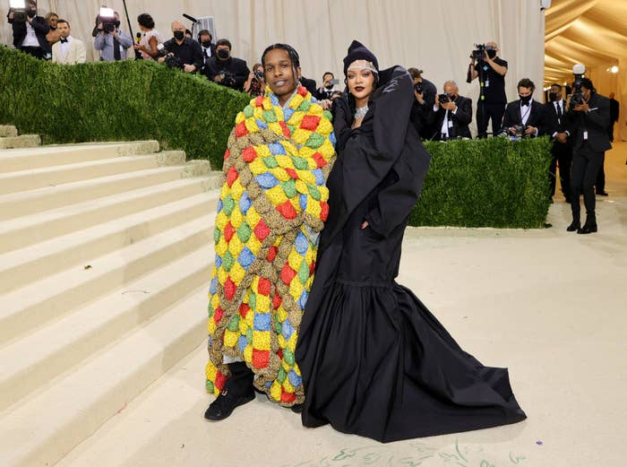 A$AP Rocky and Rihanna attend the 2021 Met Gala Celebrating In America: A Lexicon of Fashion