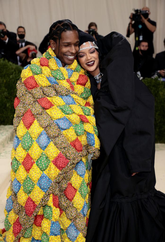 A$AP Rocky and Rihanna posing at the MET Gala