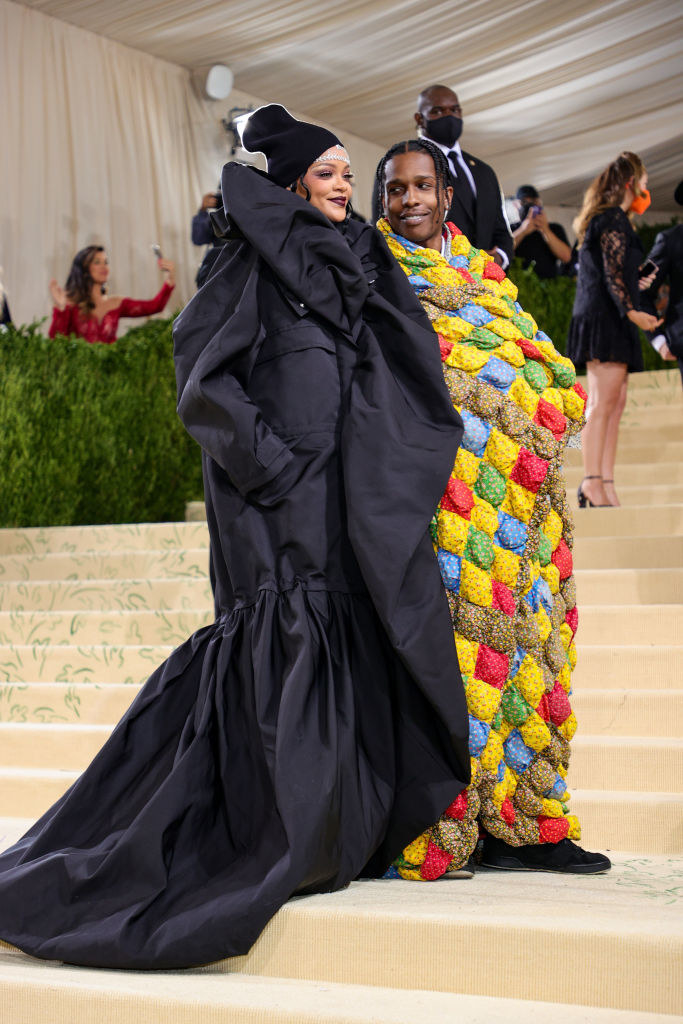 Rihanna and A$AP Rocky smiling at the MET Gala