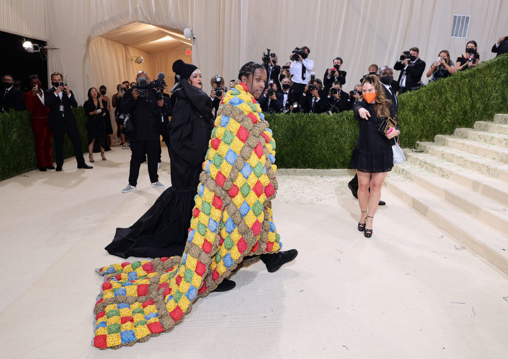 Rihanna and A$AP Rocky attend the 2021 Met Gala Celebrating in America: A Lexicon of Fashion