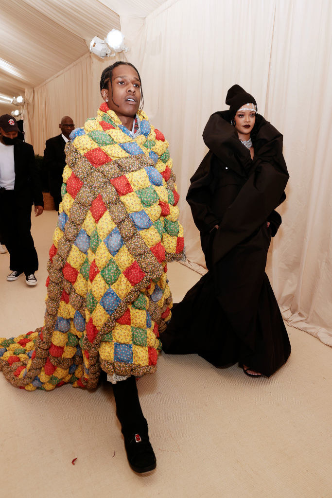 A$AP Rocky and Rihanna walking inside the Met Gala