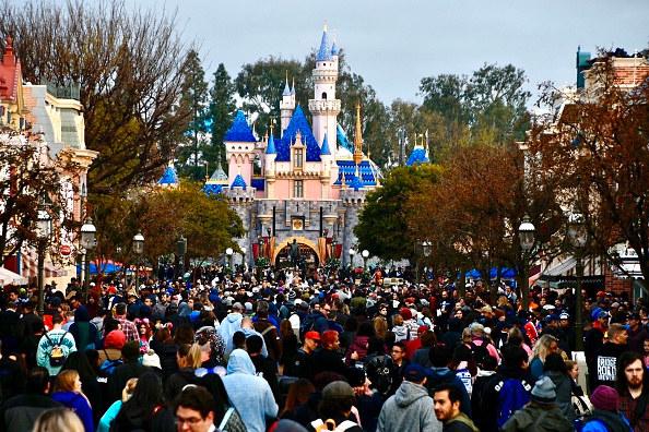 A crowd at Disney World