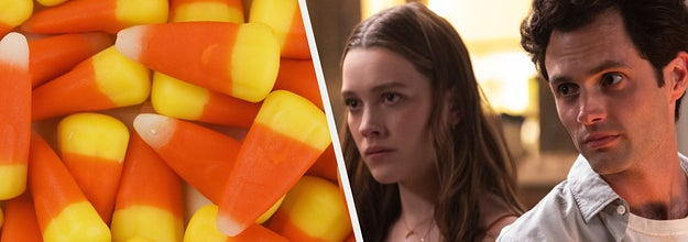 Candy corn side by side with You Season 3