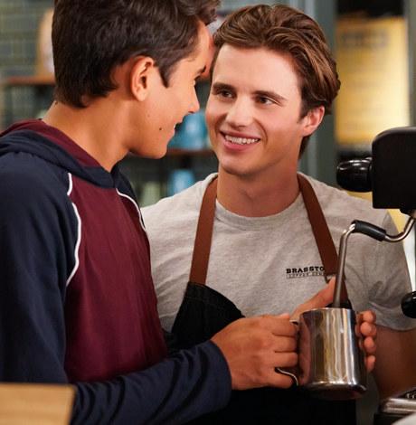 George Sear as a barista