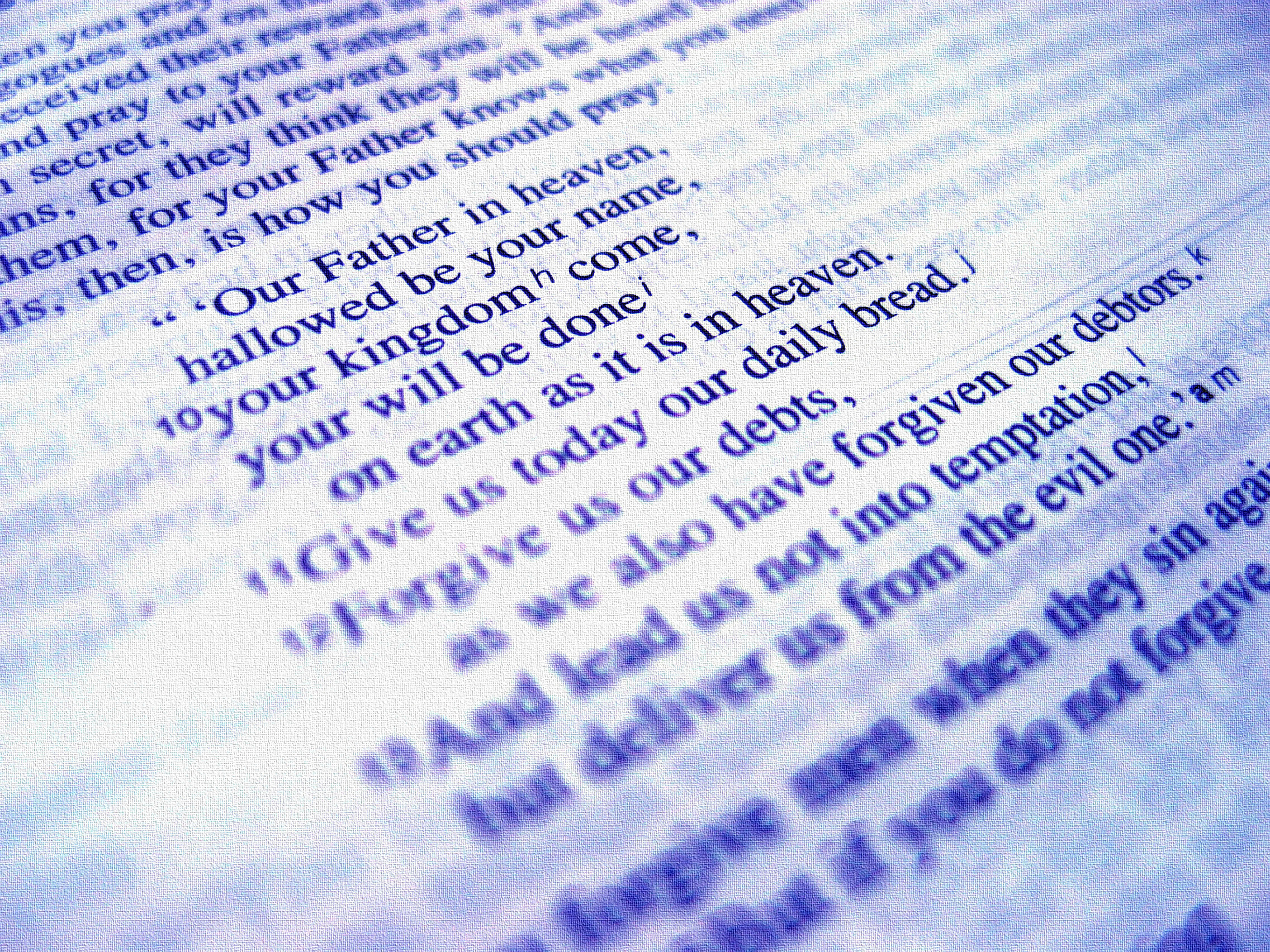 a book with the text of the lord's prayer