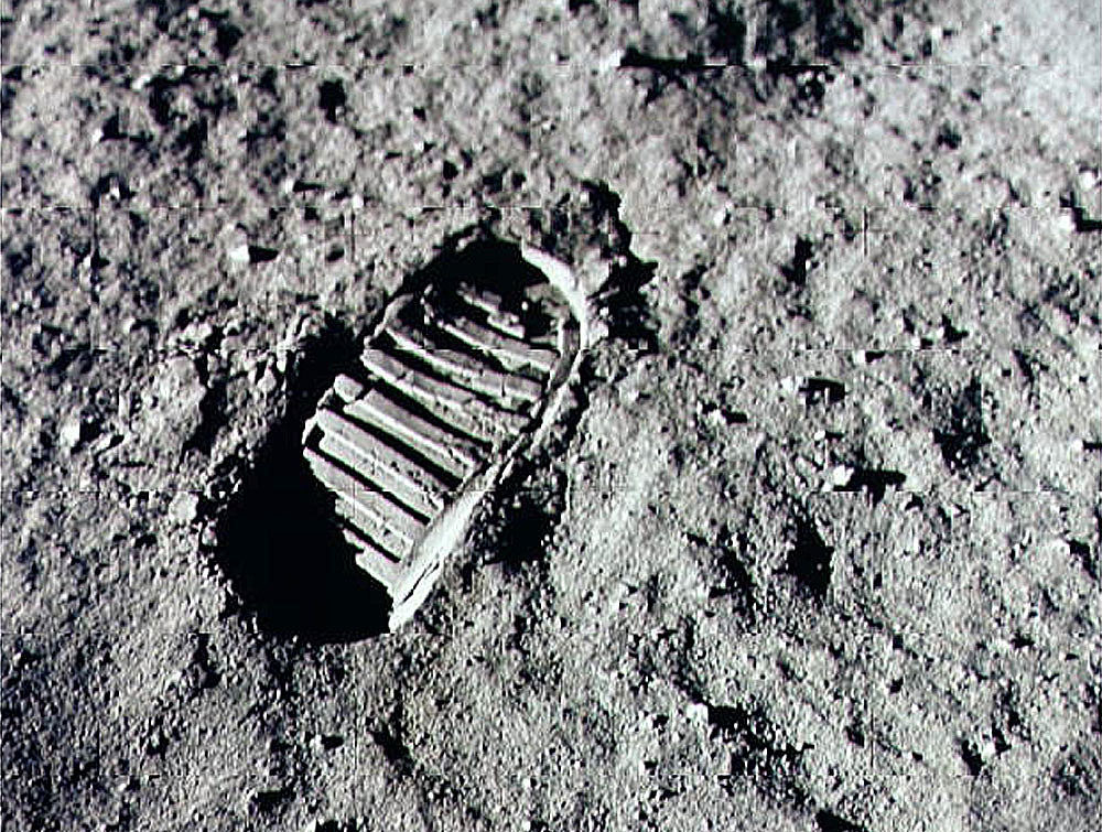 The first footprint left on the moon
