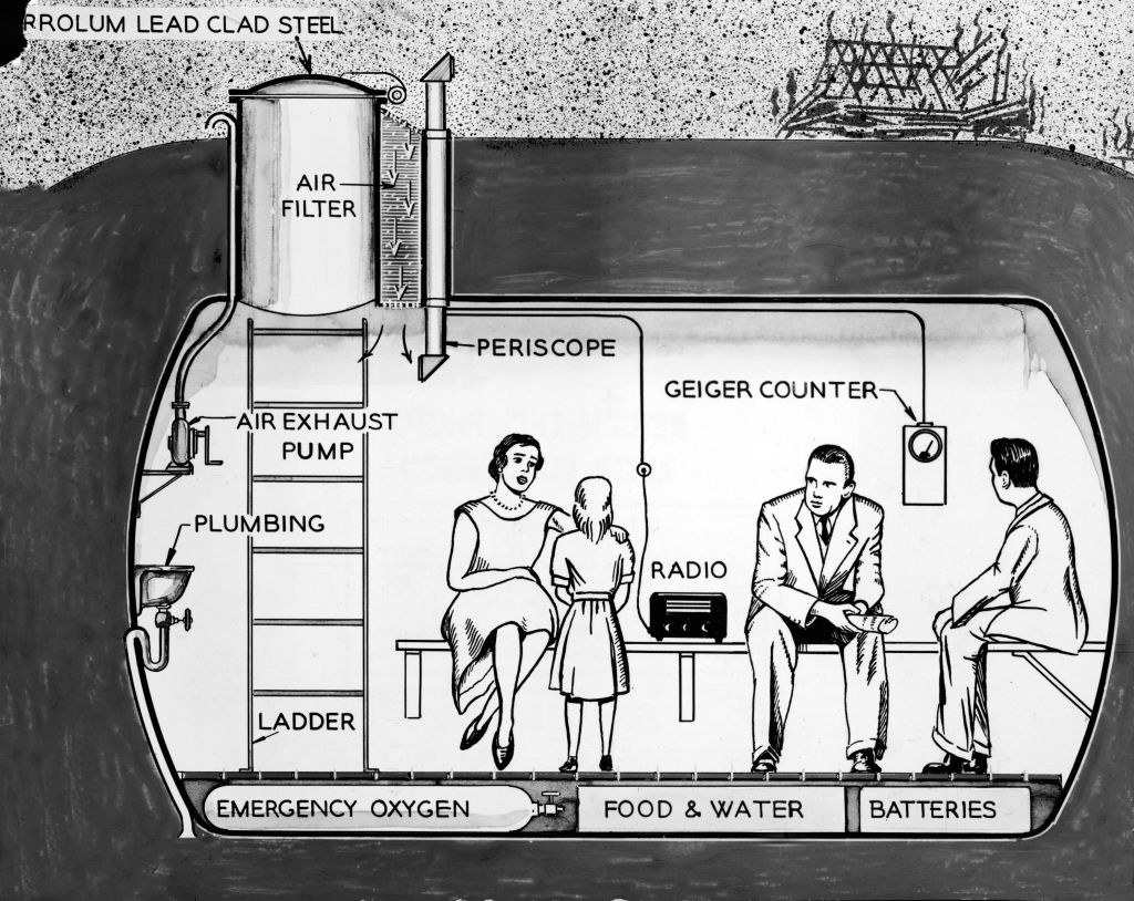 A drawing of a fallout shelter from the 1960s
