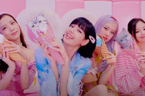 Blackpink holding up kitty ice cream cones in the Ice Cream music video
