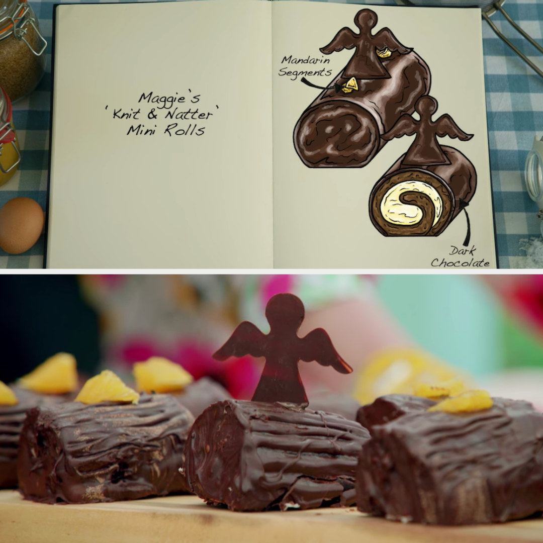 Maggie's mini rolls decorated with mandarin segments and dark chocolate angels side by side with their drawing