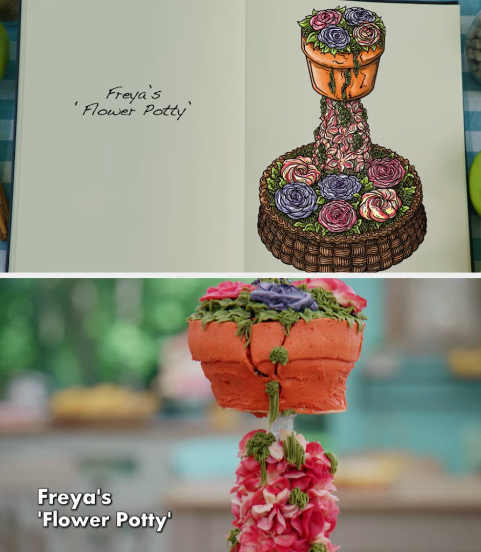 Freya's anti-gravity cake decorated to look like a flower pot side by side with its drawing