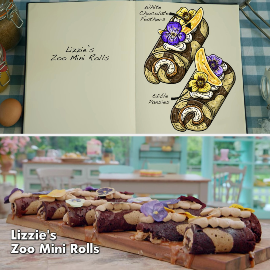 Lizzie's mini rolls decorated with edible pansies and chocolate feathers side by side with their drawing
