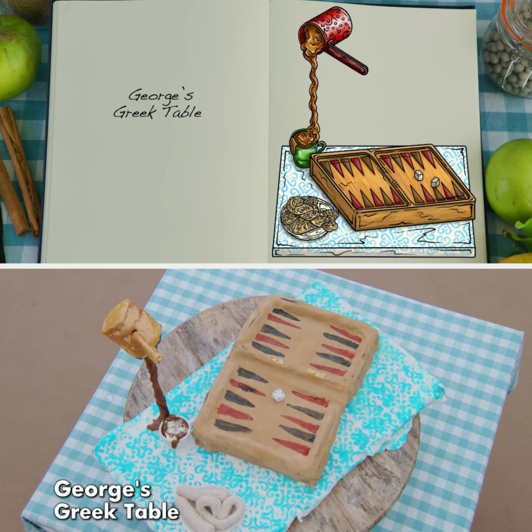 George's anti-gravity cake designed to look like a backgammon board and a coffee pot pouring into a mug side by side with its drawing
