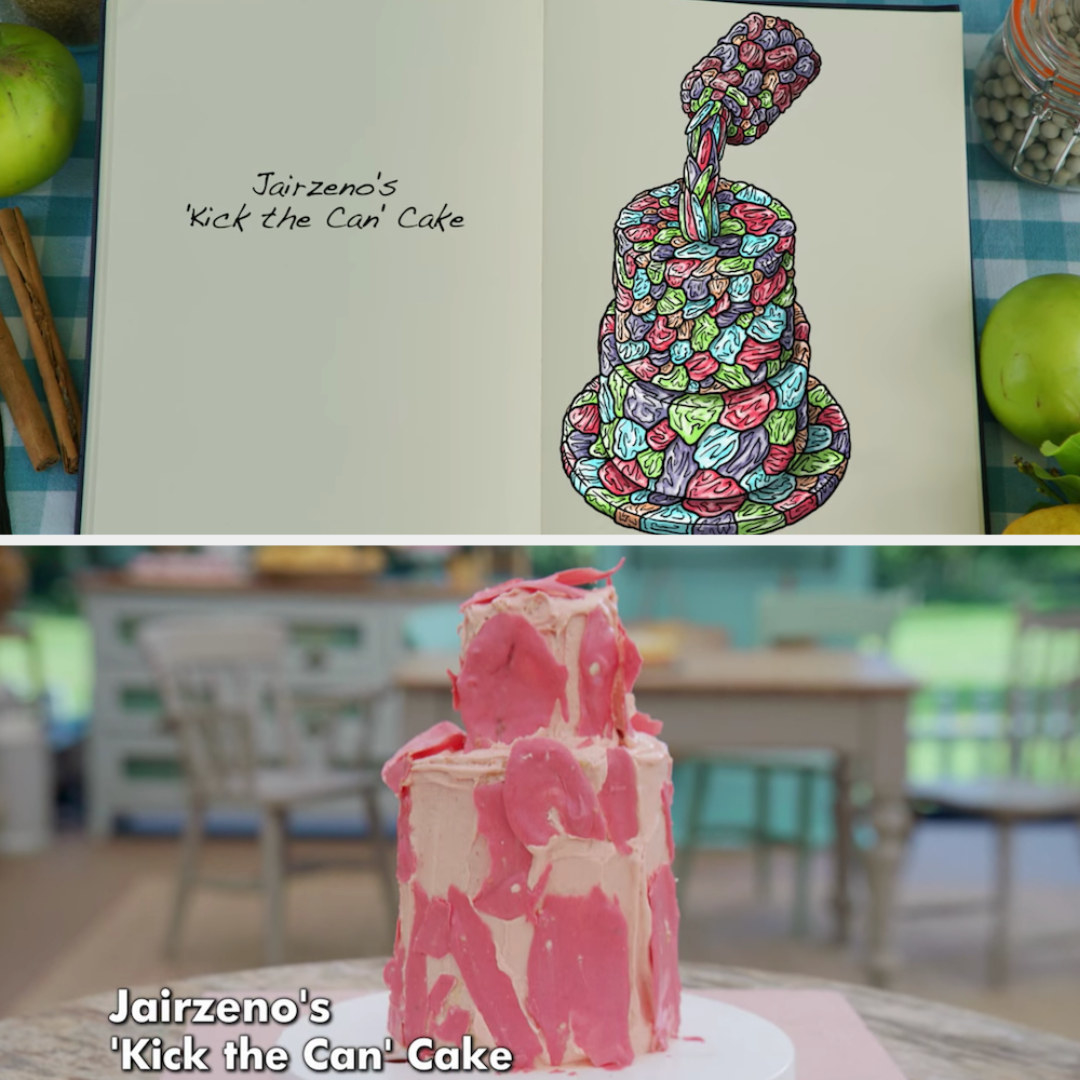 Jairzeno's anti-gravity cake decorated to look like a paint can pouring out paint side by side with its drawing