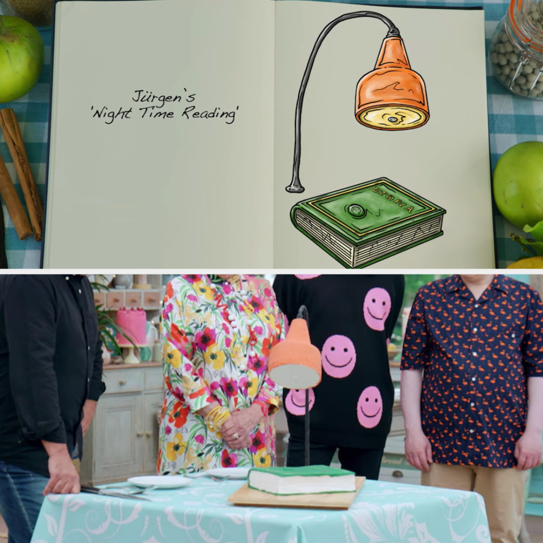 Jürgen's anti-gravity cake designed to look like a lamp and book side by side with its drawing