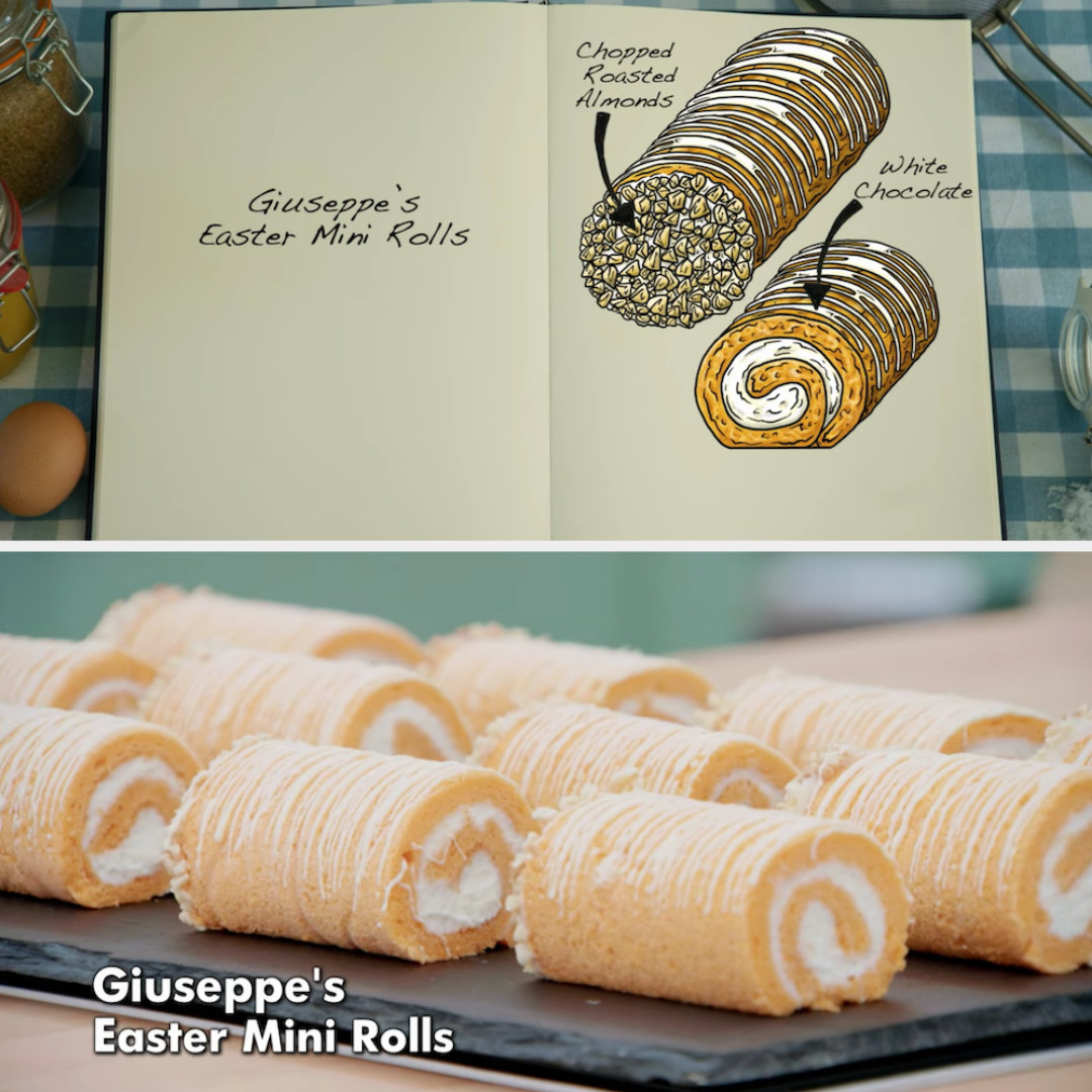 Giuseppe's mini rolls decorated with chopped roasted almonds and white chocolate side by side with their drawing