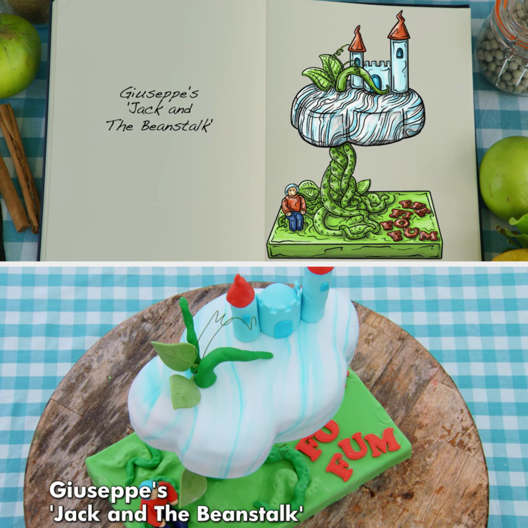 Giuseppe's anti-gravity cake of Jack and the Beanstalk made out of fondant detailing side by side with its drawing