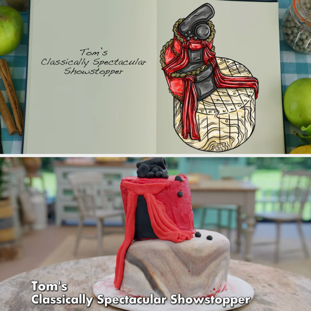 Toms's anti-gravity cake decorated to look like a flower pot side by side with its drawing