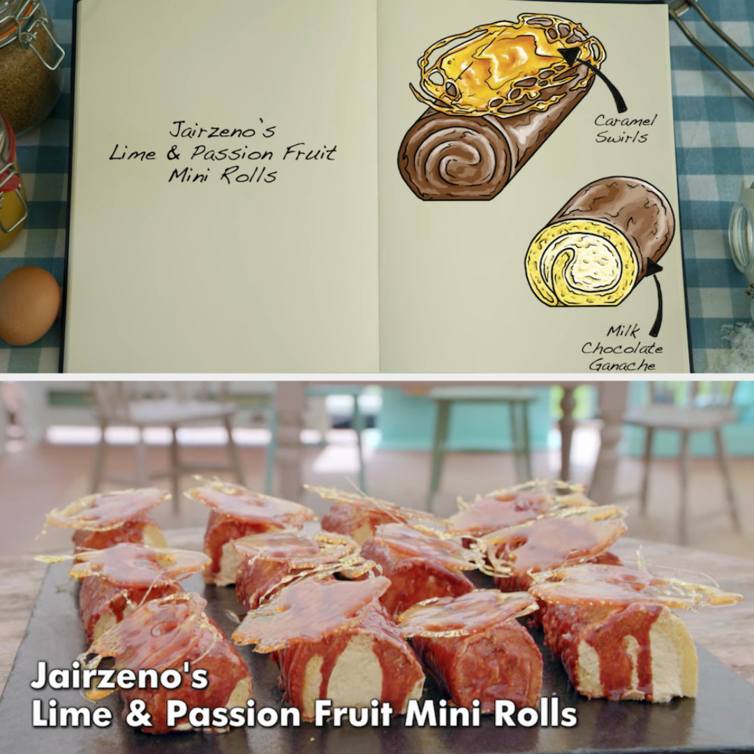 Jairzeno's mini rolls decorated with caramel swirls and milk chocolate ganache side by side with their drawing