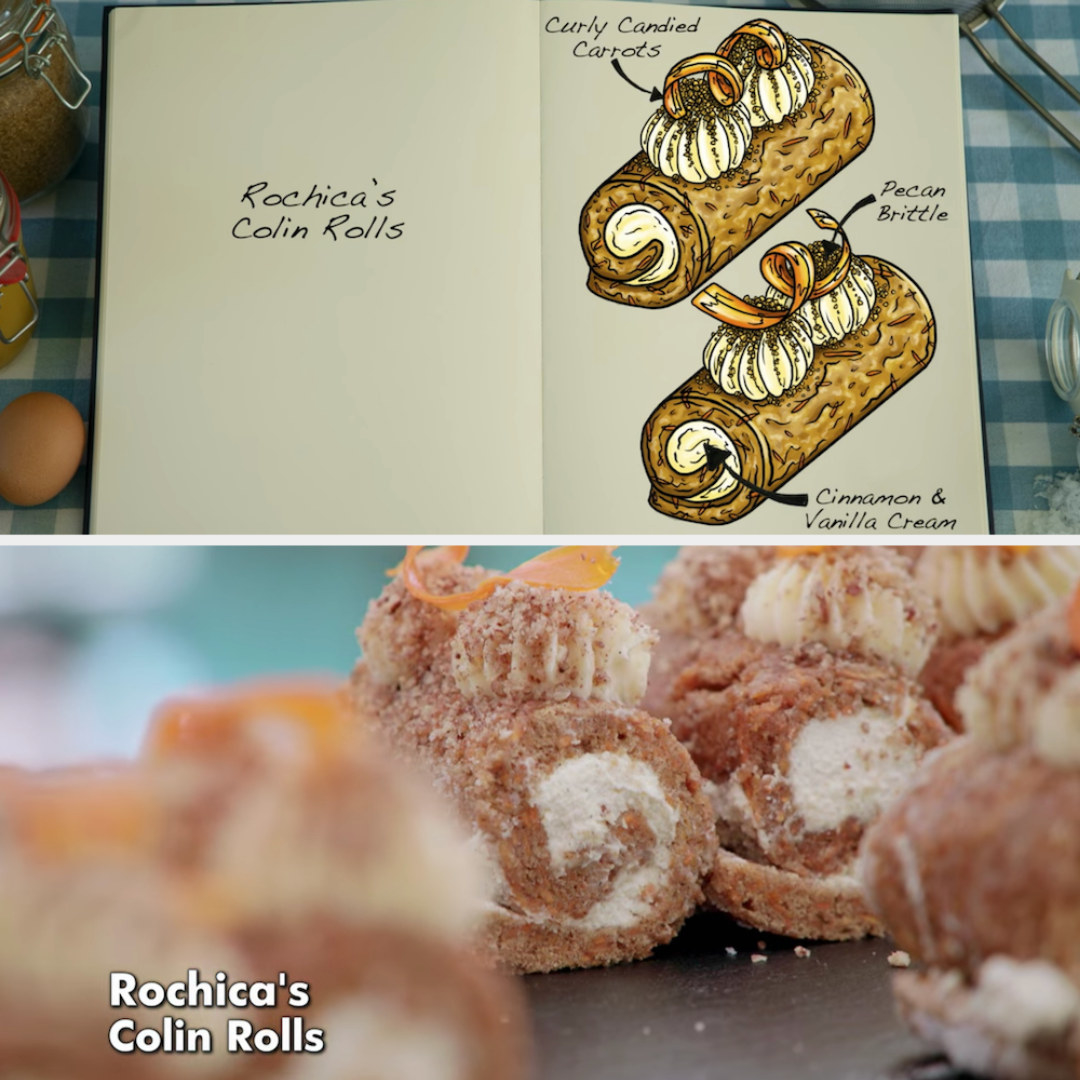 Rochica's mini rolls decorated with curly candied carrots and pecan brittle side by side with their drawing