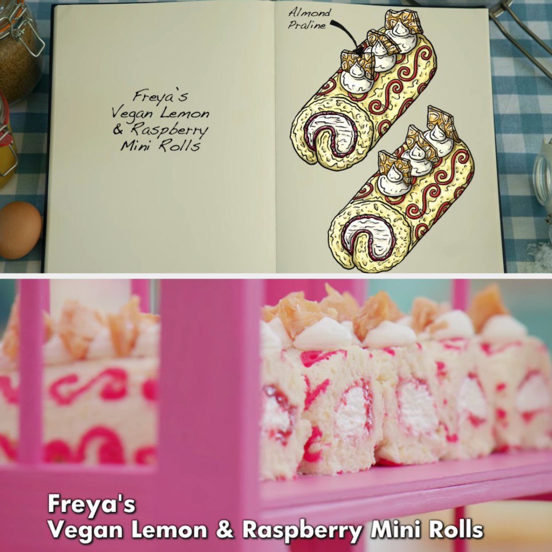 Freya's mini rolls decorated with almond praline and raspberry swirls side by side with their drawing