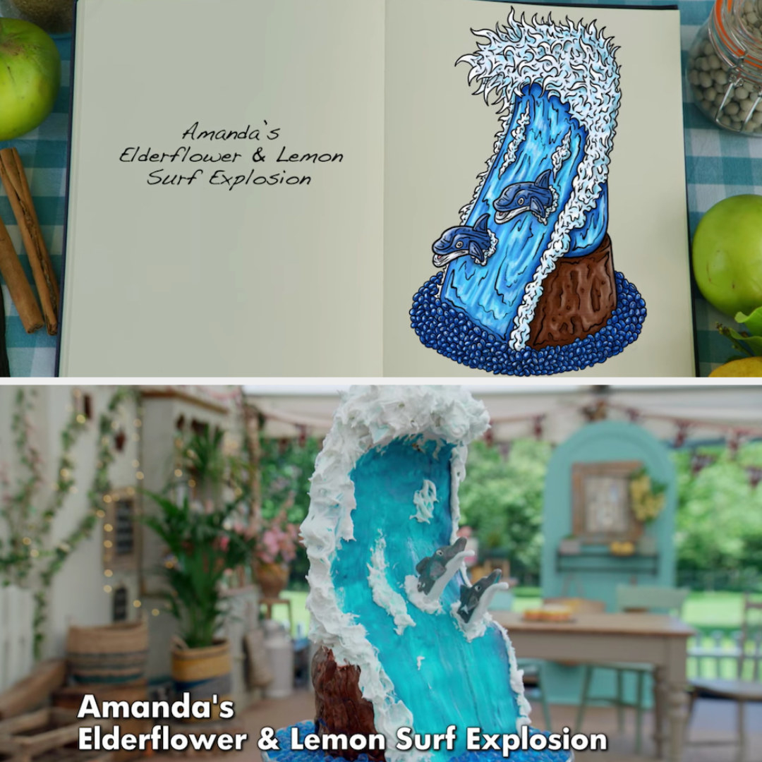 Amanda's anti-gravity cake decorated to look like dolphins in the surf at sea side by side with its drawing