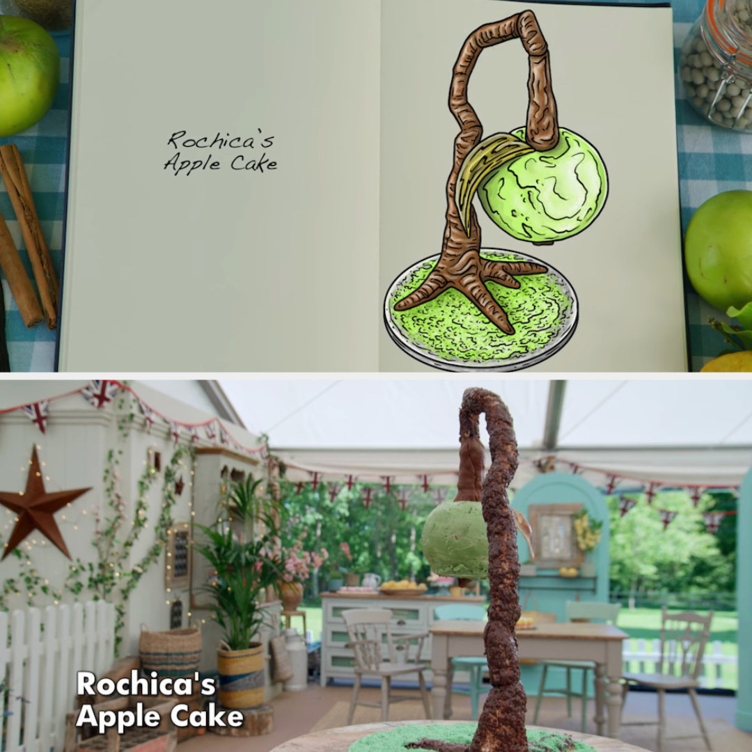 Rochica's anti-gravity cake decorated to look like an apple hanging from a tree side by side with its drawing