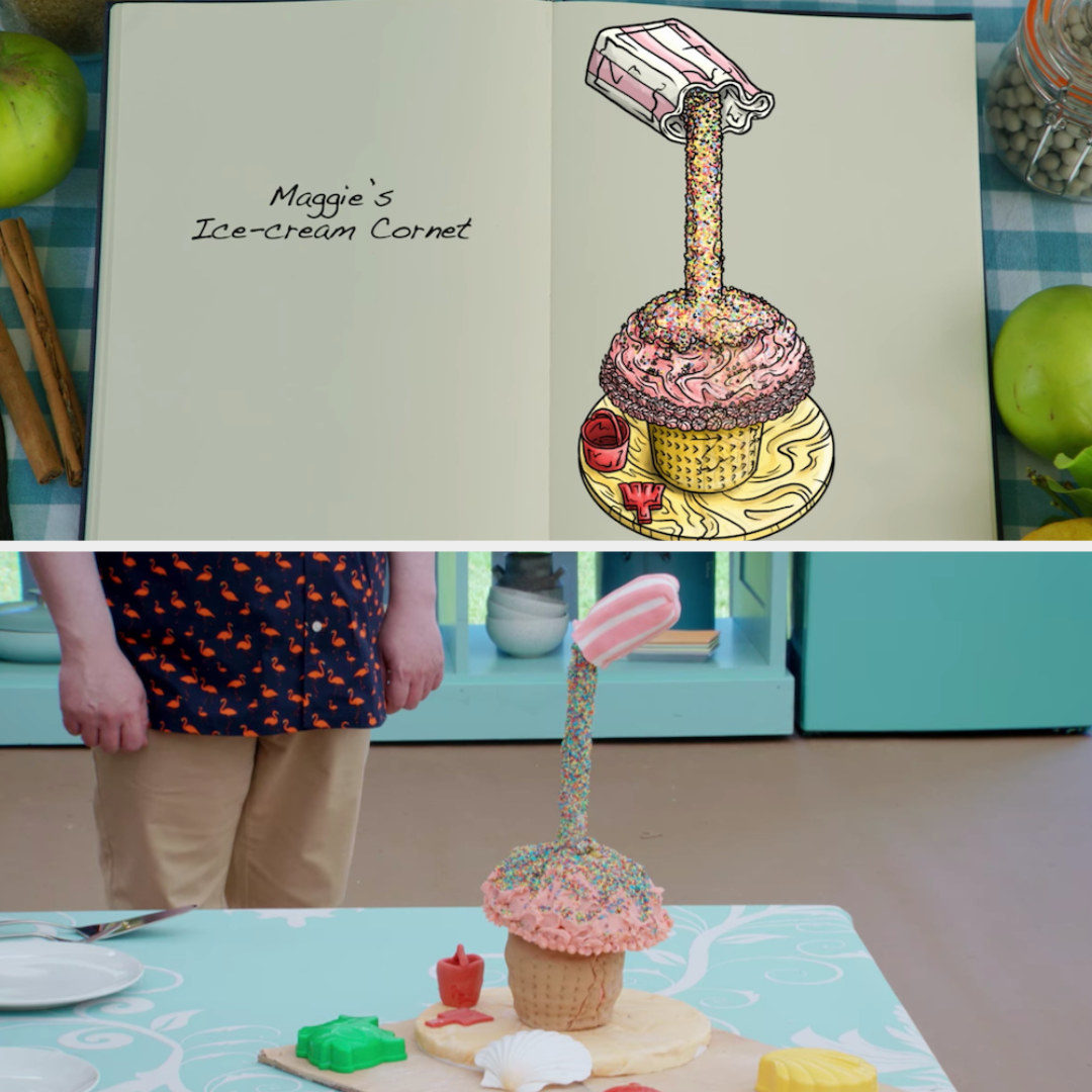 Maggie's anti-gravity cake decorated to look like an ice cream cornet side by side with its drawing