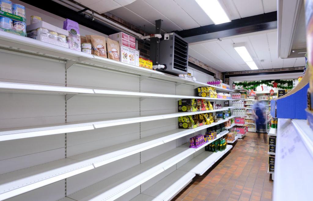 An empty grocery store shelf