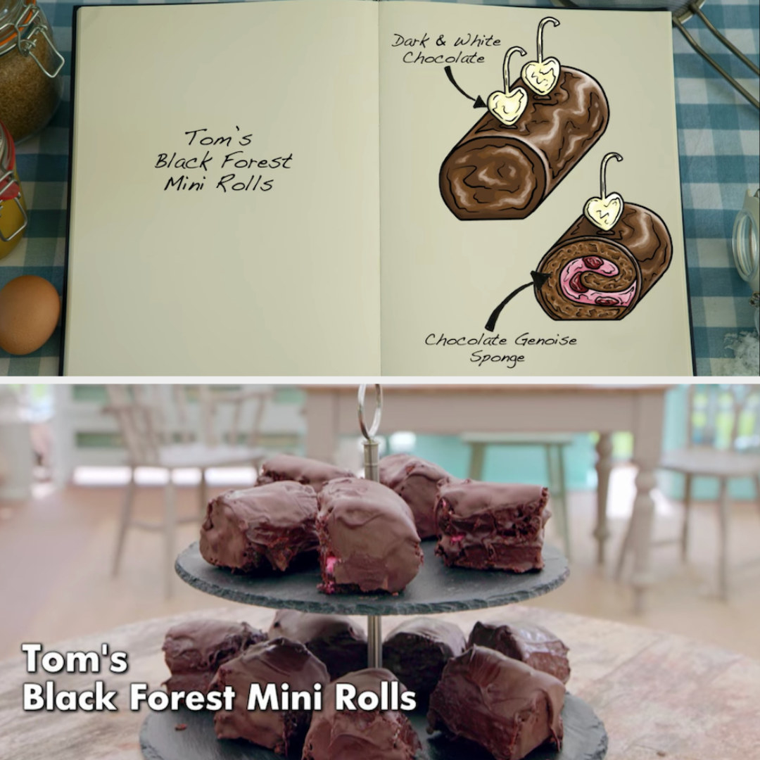 Tom's mini rolls side by side with their drawing