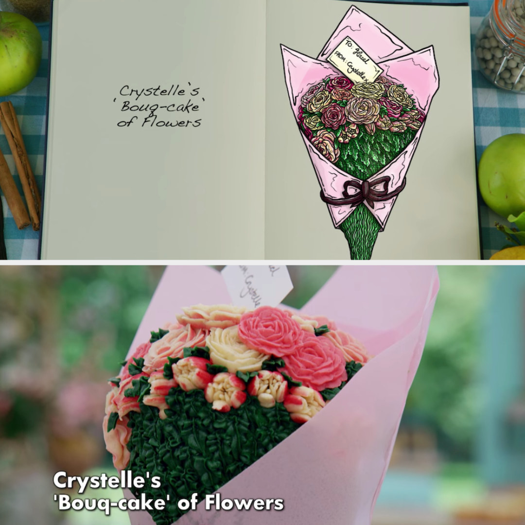 Crystelle's anti-gravity cake decorated to look like bouquet of flowers side by side with its drawing