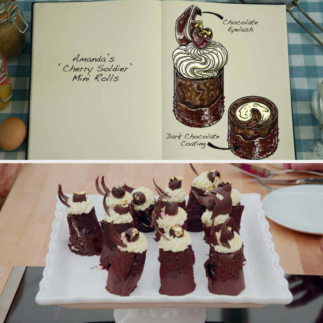 Amanda's vertical standing mini rolls decorated with a chocolate eyelash and dark chocolate coating side by side with their drawing