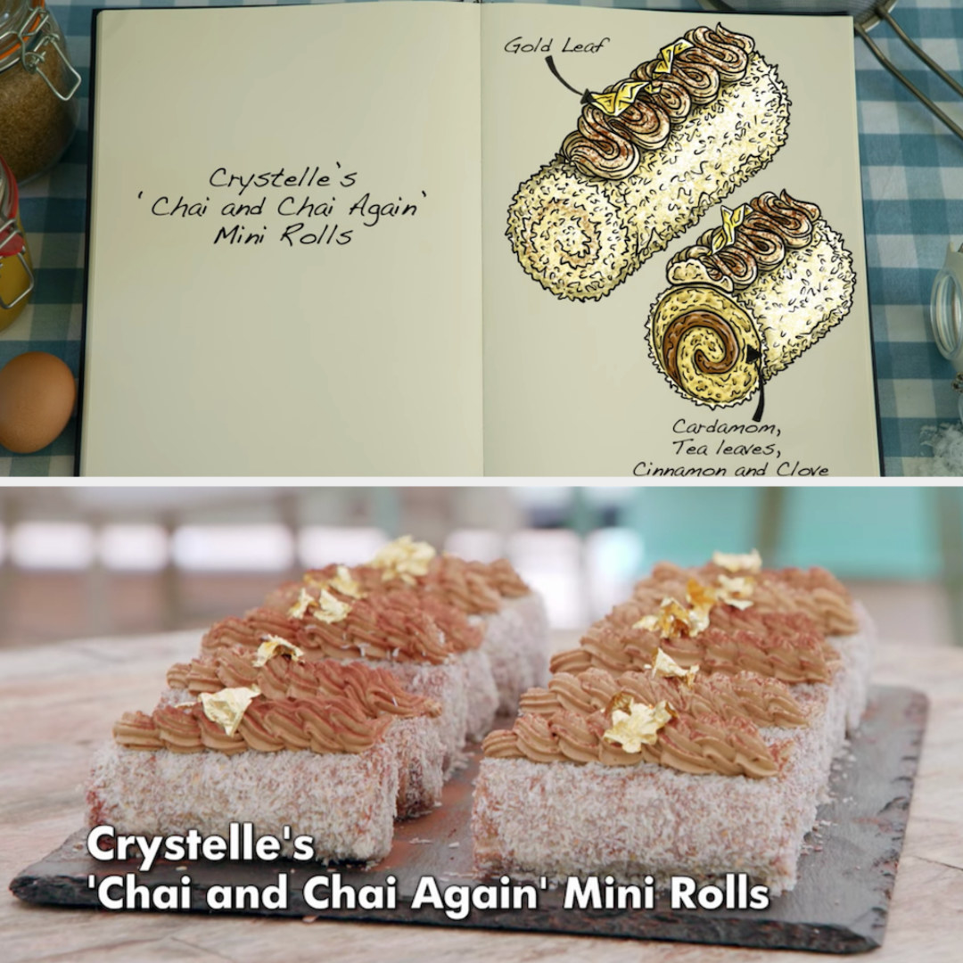 Crystelle's chai mini rolls decorated with gold leaf side by side with their drawing