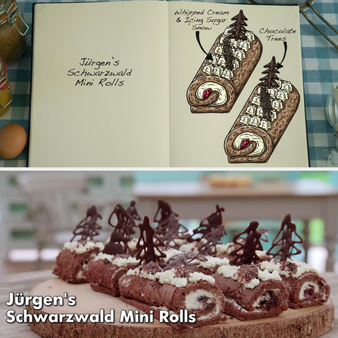 Jürgen's mini rolls decorated with chocolate trees side by side with their drawing
