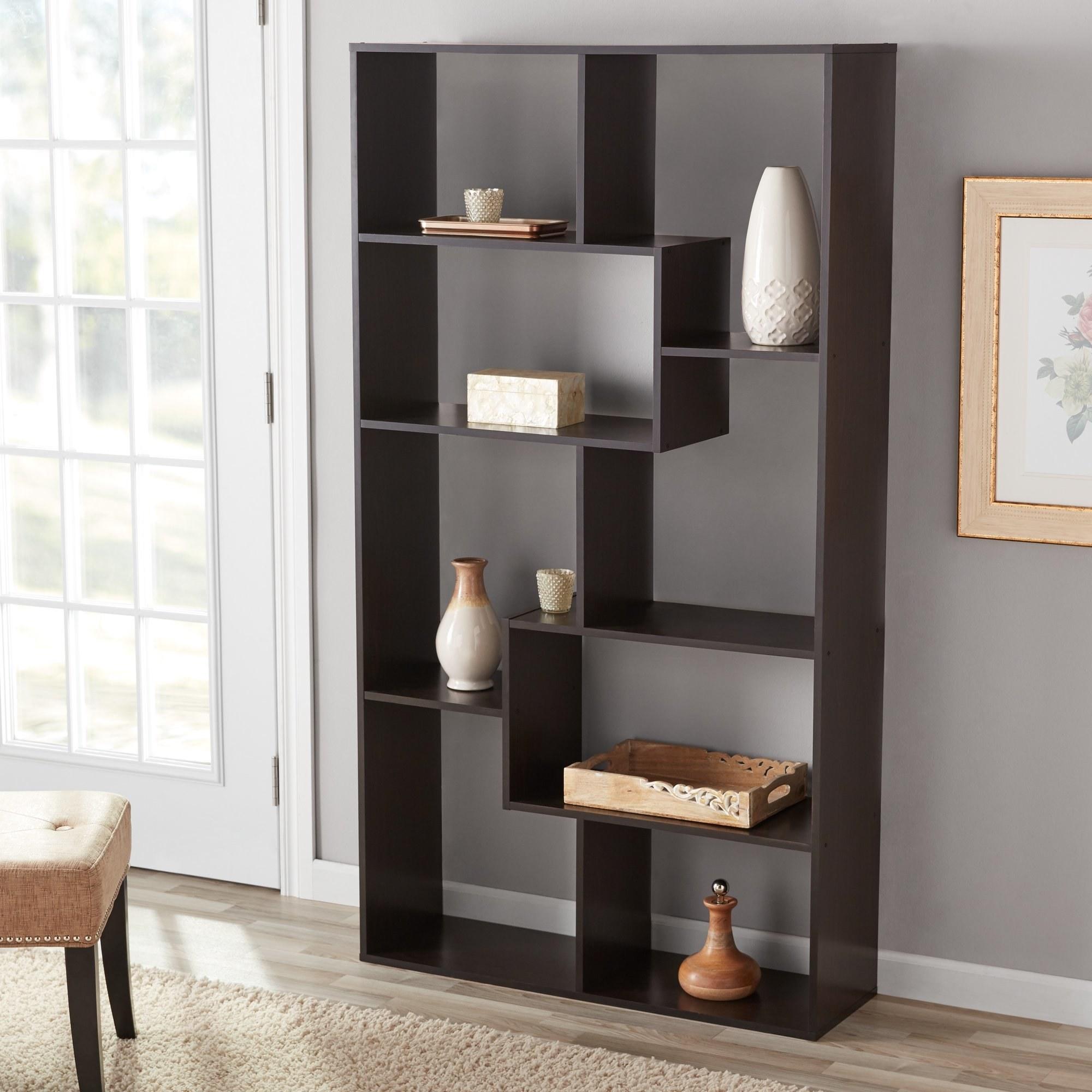 Bookshelf with items on it