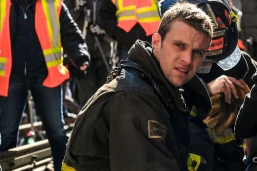 Jesse Spencer as firefighter