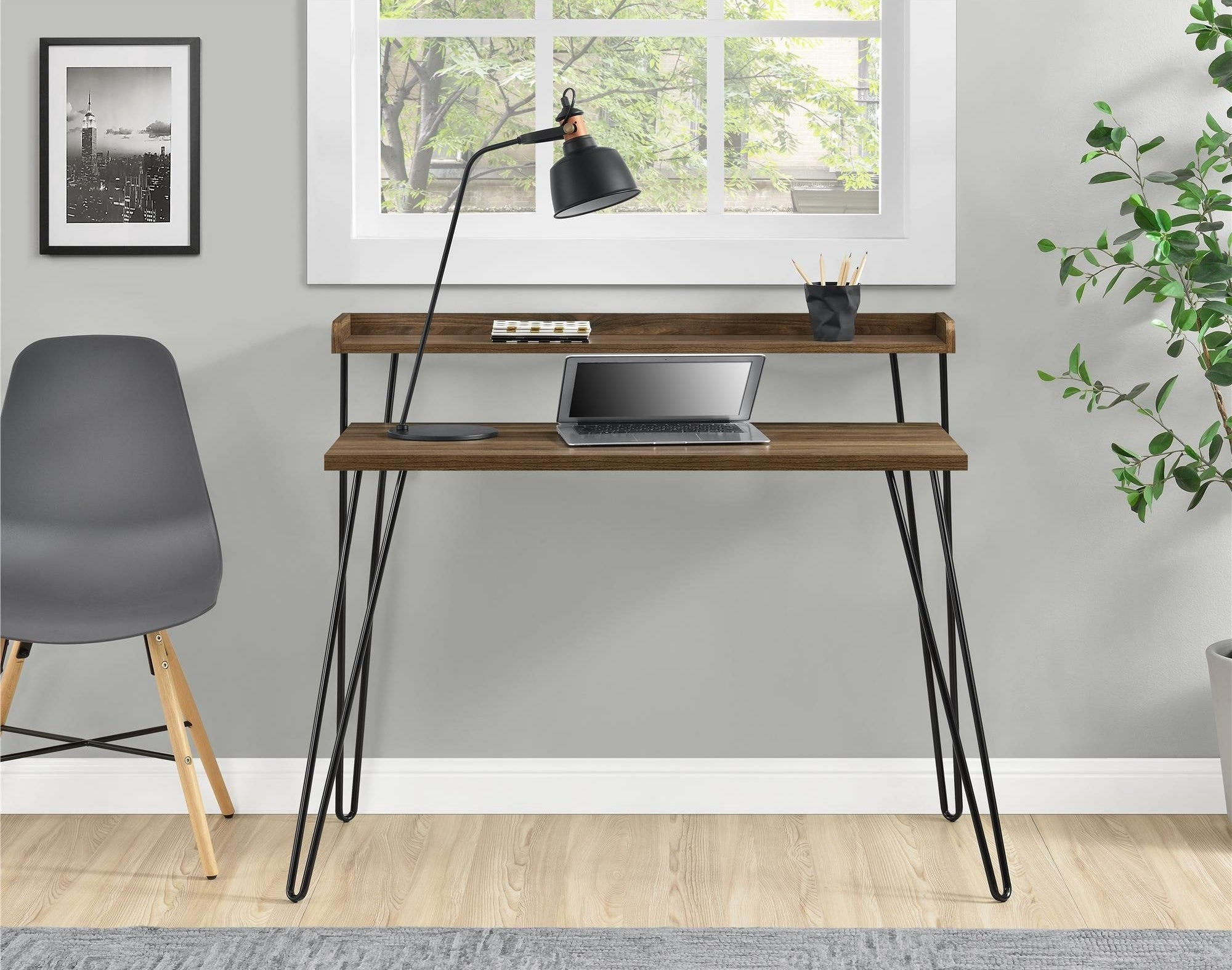 Brow wood desk with chair