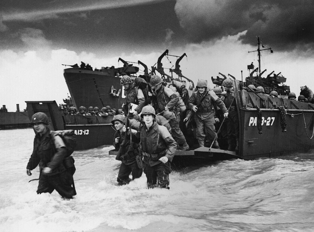 troops land from the water on D-Day
