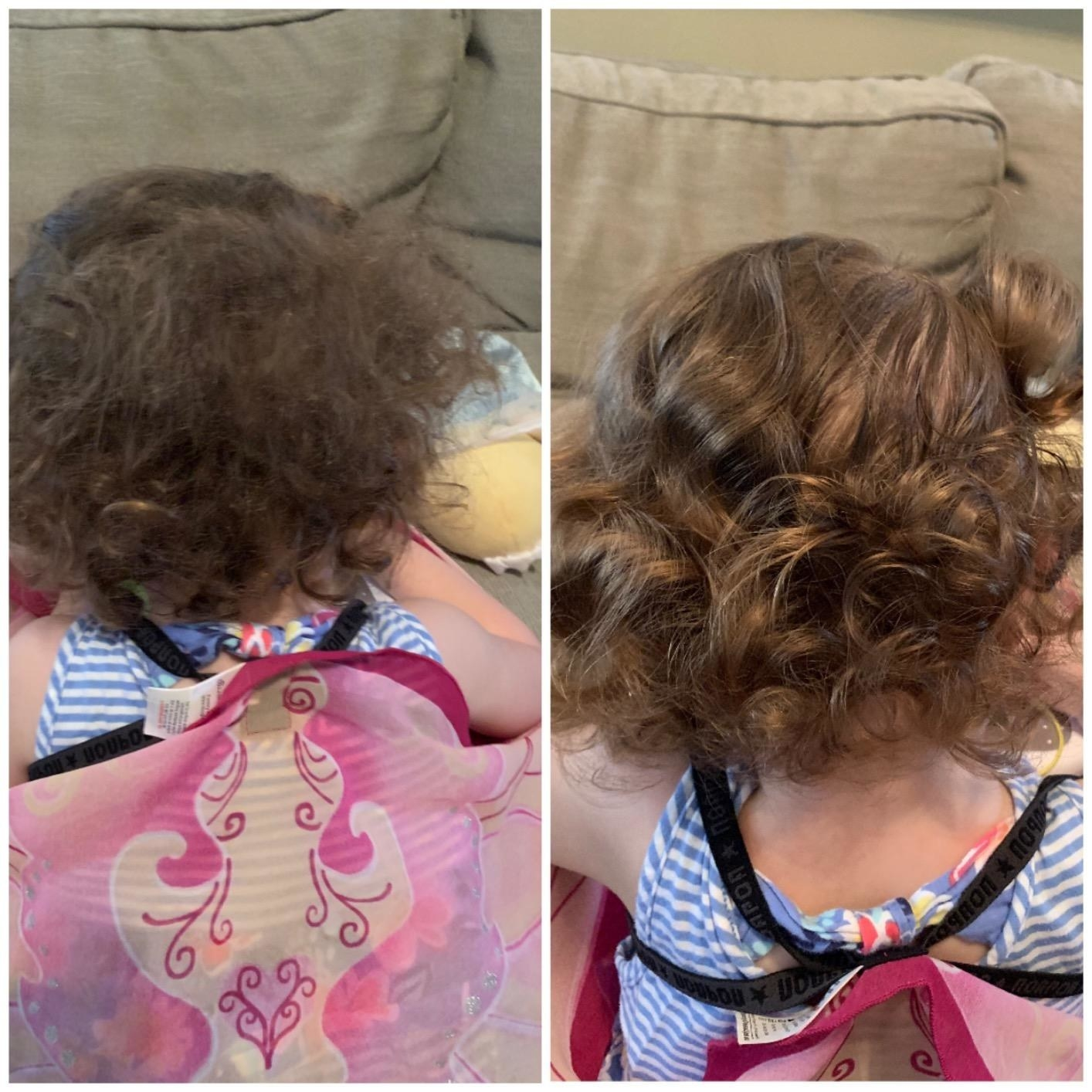 Reviewer's before photo showing their child's curly hair before using the spray and after photo showing glossy curls with the spray