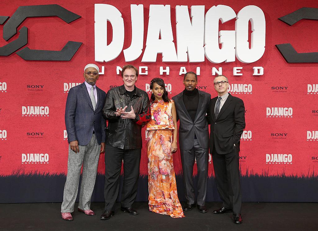 (left to right) Samuel L. Jackson, Quentin Tarantino, Kerry Washington, Jamie Foxx and Christoph Waltz attend 'Django Unchained' Berlin Premiere