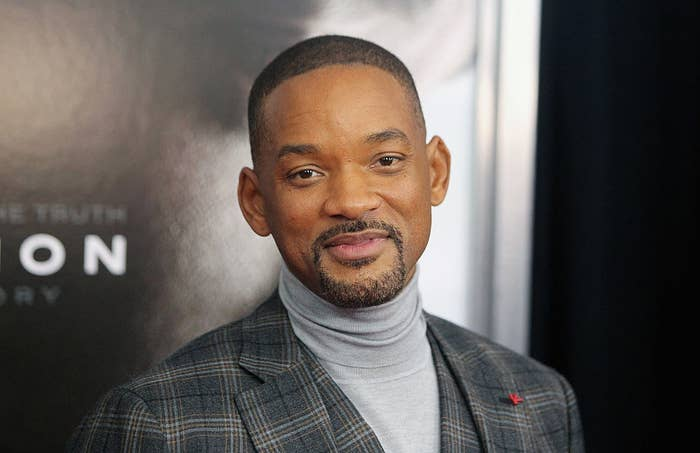 """Will Smith attends the """"Concussion"""" New York premiere in a plaid suit and turtle neck sweater"""
