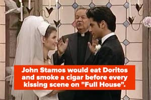 """Screenshot of Rebecca and Uncle Jesse getting married with the caption """"John Stamos would eat Doritos and smoke a cigar before every kissing scene on """"Full House""""."""""""