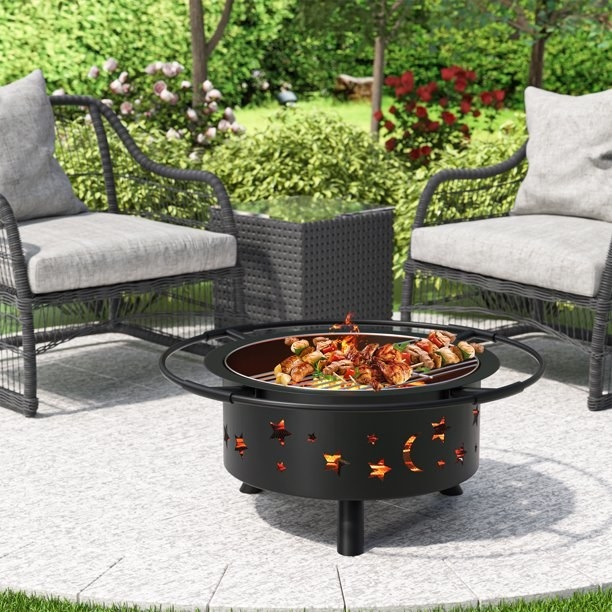the fire pit on a patio