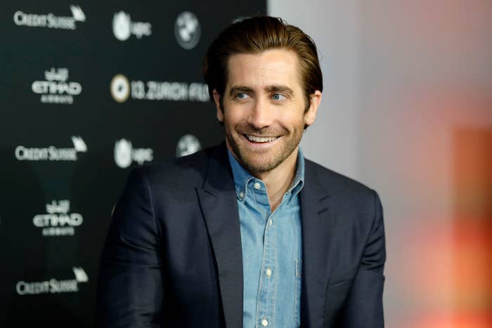 Jake Gyllenhaal smiling at the 'Stronger' press conference