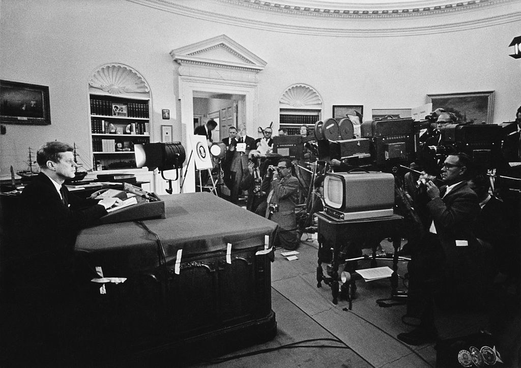 Kennedy addresses the press during the Cuban Missile Crisis