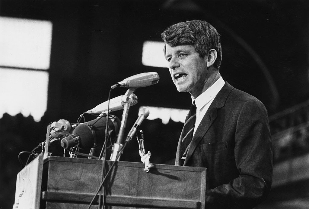 Robert Kennedy speaking at a rally