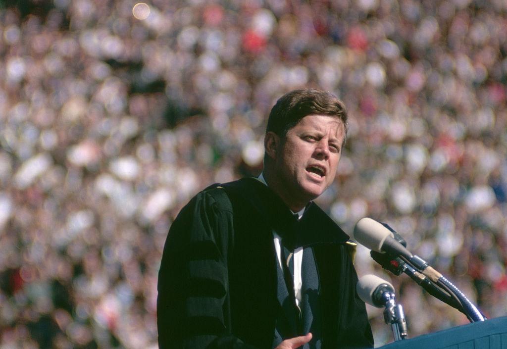 JFK gives a speech