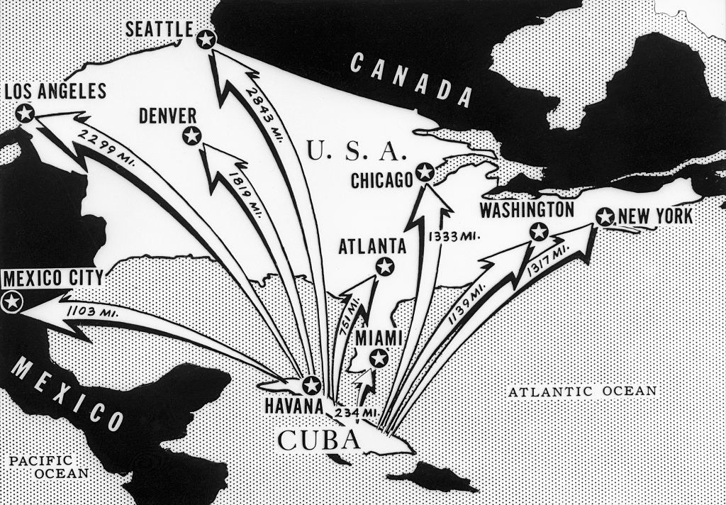 This newspaper map from the era shows the distance from Cuba to major American and Mexican cities