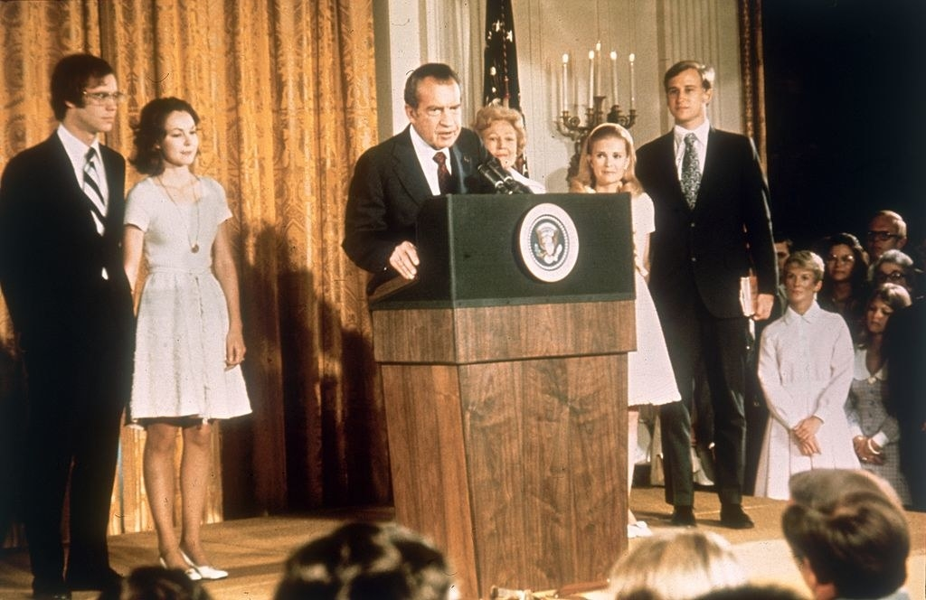Nixon resigns as his family looks on