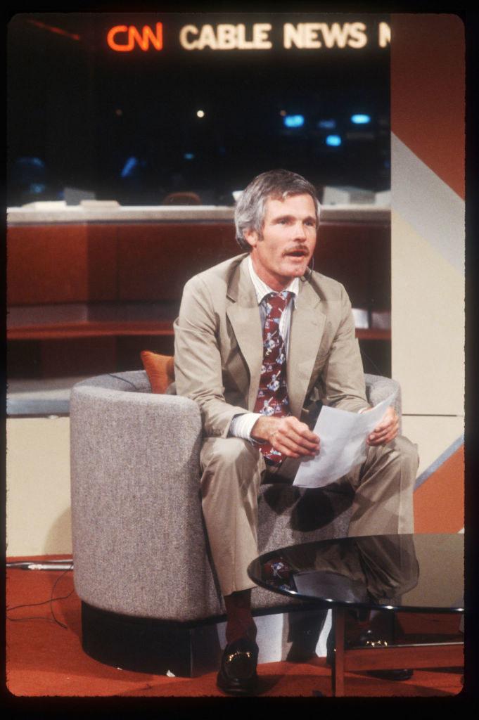 Ted Turner in the CNN newsroom